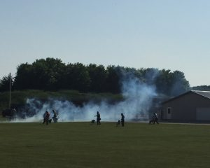 officers and K9s training in smoke